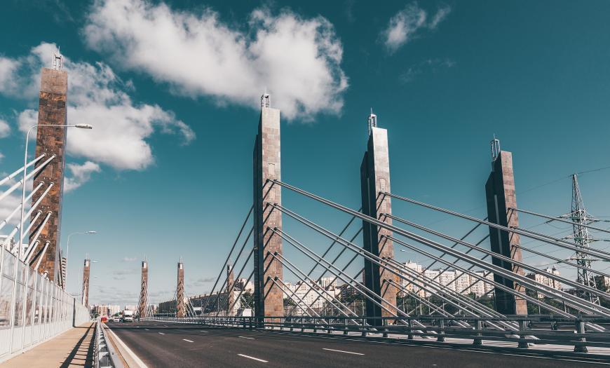 Путепроводная развязка на пересечении Пулковского шоссе с Дунайским проспектом в Санкт-Петербурге